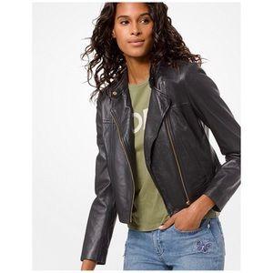 Michael Kors Black Leather Moto Jacket Size Large